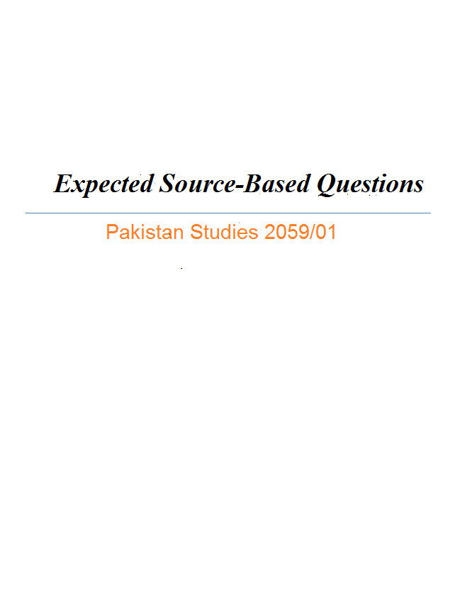 Source based questions pakistan studies