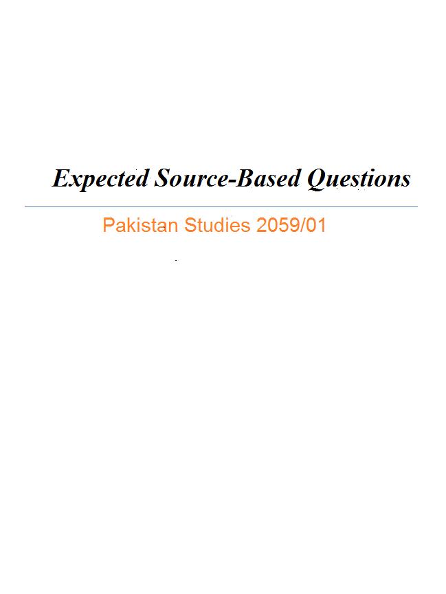 Source based questions pakistan studies