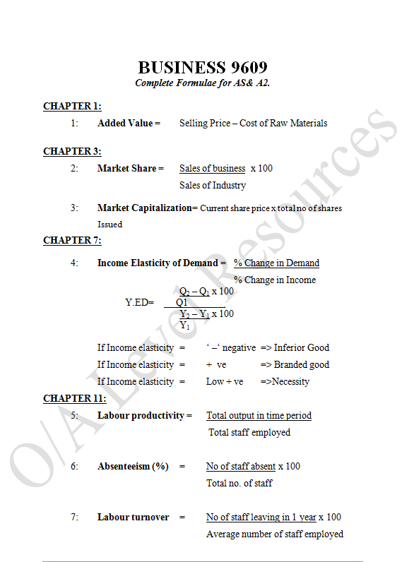 accounting formulas