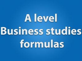 A level business studies formulas