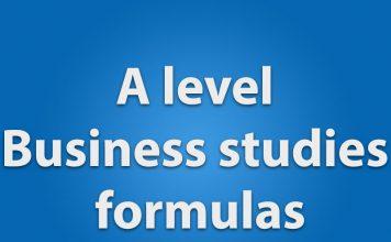 A level business studies formulas