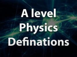 A level physics definations