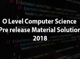 O level computer sciecne Pre release material solution