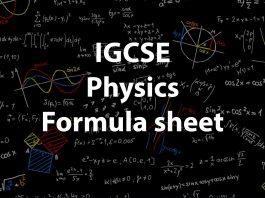 IGCSE physics formula sheet
