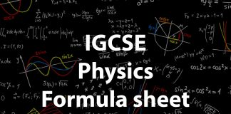 IGCSE physics formula sheet